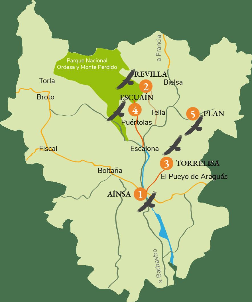 Mapa de Puntos y Rutas de Observación